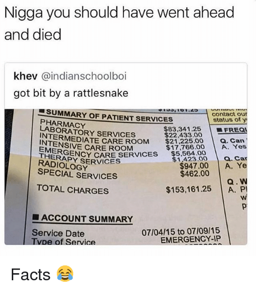 Facts, Memes, and Date: Nigga you should have went ahead  and died  khev @indianschoolboi  got bit by a rattlesnake  contact ou  status of y  | ■FREQ!  SUMMARY OF PATIENT SERVICES  PHARMACY  LABORATORY SERVICES  INTERMEDIATE CARE ROOM $21,  INTENSIVE CARE ROOM  $83.34 1.25  $22,433.00  225.00 Can  $17,766.00 A. Yes  ERGE  THEBSENCY CARE SERVICES  RADIOLOGY  SPECIAL SERVICES  $5,564.00  RAOY SERVICES  $1,423.00 a. Ca  $947.00 A. Ye  $462.00  TOTAL CHARGES  $153,161.25 A. P  ■ ACCOUNT SUMMARY  Service Date  Tvpe of Service  07/04/15 to 07/09/15  EMERGENCY-IP Facts 😂
