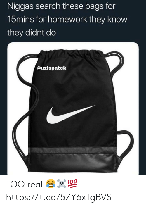 Search, Homework, and They: Niggas search these bags for  15mins for homework they know  they didnt do  auzispatek TOO real 😂☠️💯 https://t.co/5ZY6xTgBVS