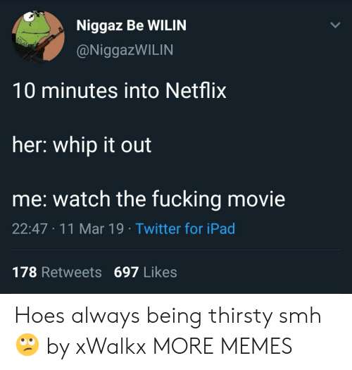 Dank, Fucking, and Hoes: Niggaz Be WILIN  @NiggazWILIN  10 minutes into Netflix  her: whip it out  me: watch the fucking movie  22:47 11 Mar 19 Twitter for iPad  178 Retweets 697 Likes Hoes always being thirsty smh 🙄 by xWalkx MORE MEMES