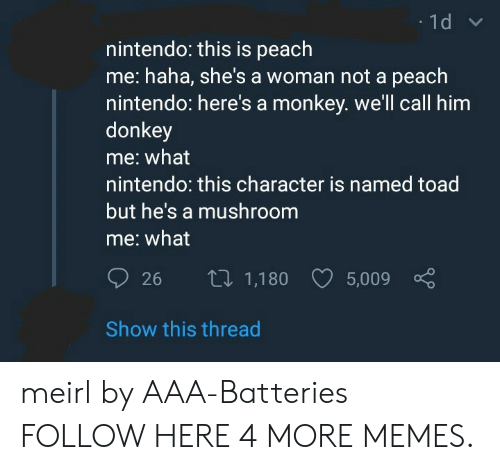 aaa: nintendo: this is peach  me: haha, she's a woman not a peach  nintendo: here's a monkey. we'll call him  donkey  me: what  nintendo: this character is named toad  but he's a mushroom  me: what  26 th 1,180 5,009  Show this thread meirl by AAA-Batteries FOLLOW HERE 4 MORE MEMES.