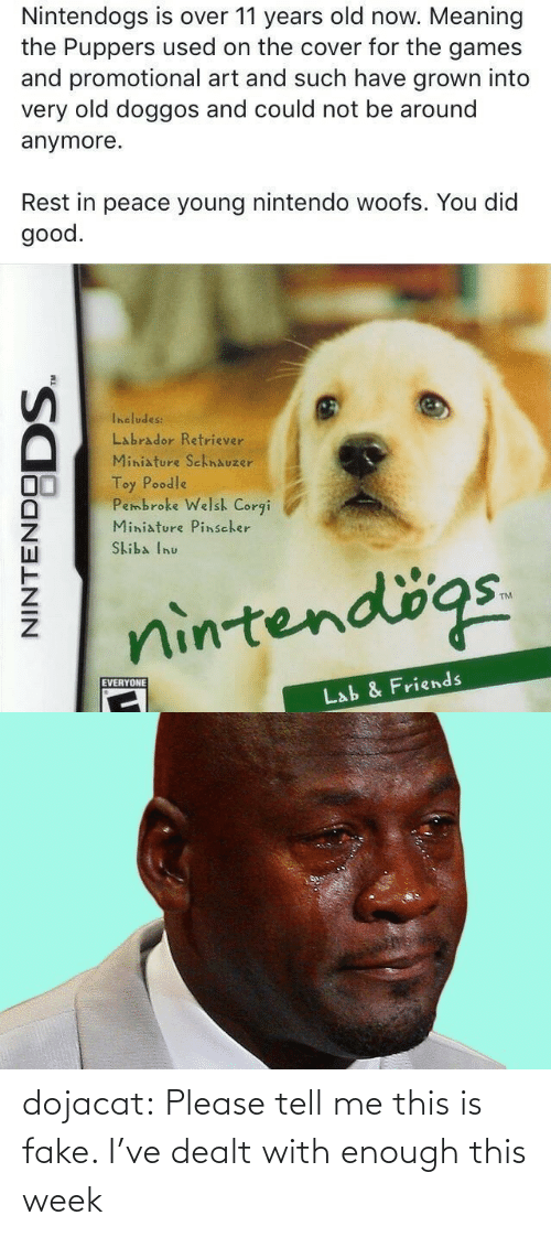 Peace: Nintendogs is over 11 years old now. Meaning  the Puppers used on the cover for the games  and promotional art and such have grown into  very old doggos and could not be around  anymore.  Rest in peace young nintendo woofs. You did  good.  Includes:  Labrador Retriever  Miniature SchnAuzer  Toy Poodle  Pembroke Welsh Corgi  Miniature Pinscher  Skiba Inu  nintendögs.  EVERYONE  Lab & Friends  NINTENDO  DODS. dojacat:  Please tell me this is fake. I've dealt with enough this week