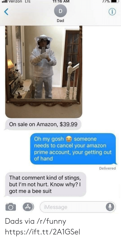 Amazon, Amazon Prime, and Dad: nll Verizon LI  11:16 AM  Dad  On sale on Amazon, $39.99  Oh my gosh someone  needs to cancel your amazon  prime account, your getting out  of hand  Delivered  That comment kind of stings,  but I'm not hurt. Know why? I  got me a bee suit  Message Dads via /r/funny https://ift.tt/2A1GSel