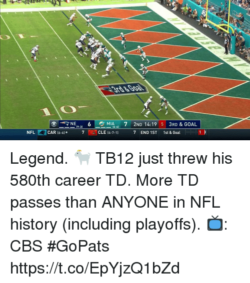 7/11, Memes, and Nfl: nNE(9-3)  NFL CAR (6-6 7  MIA6-6) 7 2ND 14:19 5 3RD&GOAL  CLE (4-7-11 7 END 1ST 1st & Goal  6 Legend. 🐐  TB12 just threw his 580th career TD. More TD passes than ANYONE in NFL history (including playoffs).  📺: CBS #GoPats https://t.co/EpYjzQ1bZd