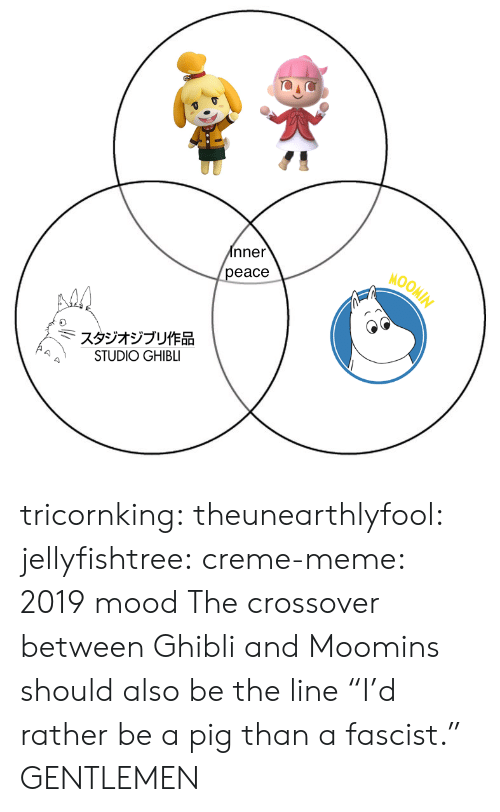 "fascist: nner  eace  MOOM  スタジオジブリ作品  STUDIO GHIBLI tricornking: theunearthlyfool:  jellyfishtree:  creme-meme: 2019 mood  The crossover between Ghibli and Moomins should also be the line ""I'd rather be a pig than a fascist.""   GENTLEMEN"