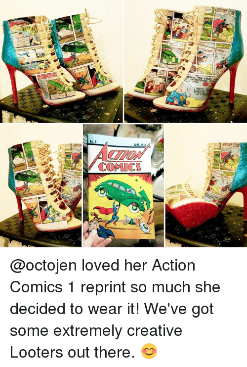 sensationalism: No. 1  JUNE, 1938  COMICS  EGINS  SENSATIONAL  ALL of A  PNG @octojen loved her Action Comics 1 reprint so much she decided to wear it! We've got some extremely creative Looters out there. 😊