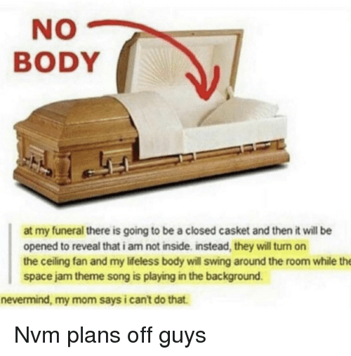 nvm: NO  BODY  at my funeral there is going to be a closed casket and then it will be  opened to reveal that i am not inside. instead, they will turn on  the ceiling fan and my Ifeless body will swing around the room while the  space jam theme song is playing in the background.  nevermind, my mom says i can't do that. Nvm plans off guys