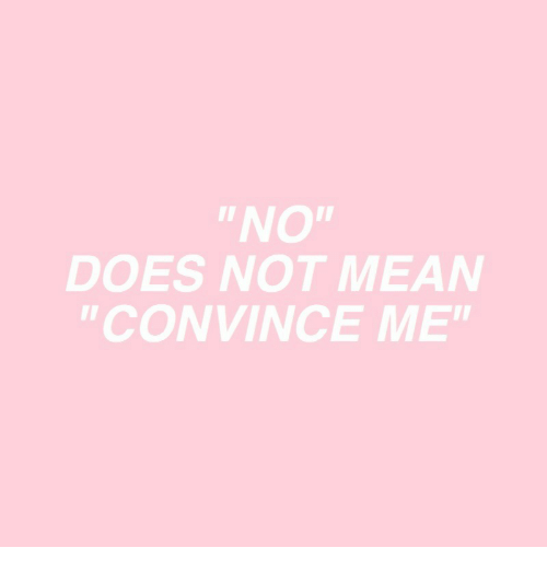 """Mean,  No, and Not: """"NO""""  DOES NOT MEAN  """"CONVINCE ME"""""""