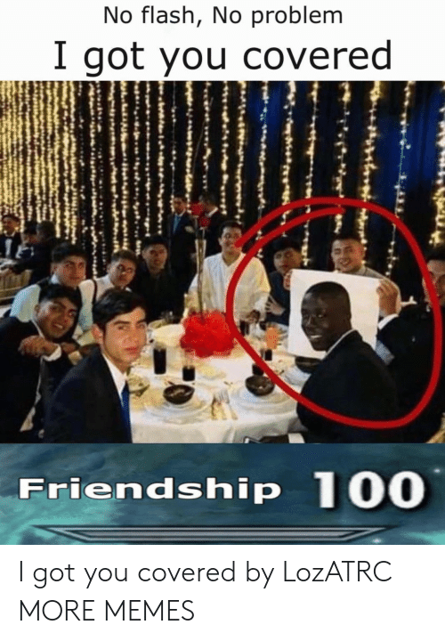 Covered: No flash, No problem  I got you covered  Friendship 100 I got you covered by LozATRC MORE MEMES