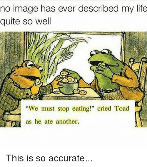 "Toade: no image has ever described my life  quite so well  ""We must stop eating!"" cried Toad  as he ate another. This is so accurate..."