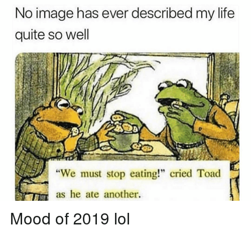 """stop eating: No image has ever described my life  quite so well  """"We must stop eating!"""" cried Toad  as he ate another. Mood of 2019 lol"""