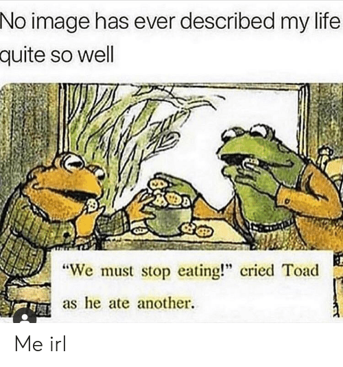 """stop eating: No image has ever described my life  quite so well  """"We must stop eating!"""" cried Toad  as e ate another. Me irl"""