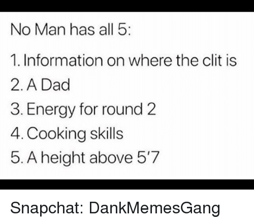 Round 2: No Man has all 5  1. Information on where the clit is  2. A Dad  3. Energy for round 2  4. Cooking skills  5. A height above 5'7 Snapchat: DankMemesGang