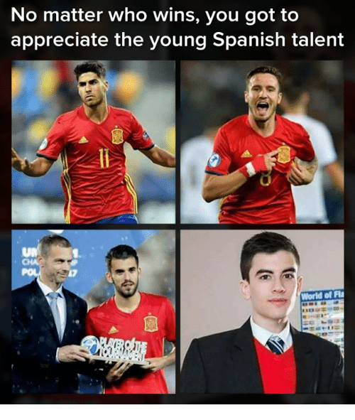 Memes, Spanish, and Appreciate: No matter who wins, you got to  appreciate the young Spanish talent  World of Fl