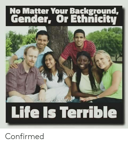 Life, Gender, and Ethnicity: No Matter Your Background,  Gender, Or Ethnicity  Life Is Terrible Confirmed