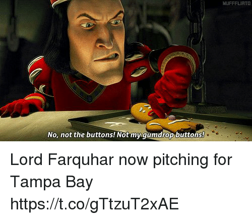 Memes, 🤖, and Tampa: No, not the buttons! Not my gumdrop buttons!  MUFFFLIATO Lord Farquhar now pitching for Tampa Bay https://t.co/gTtzuT2xAE