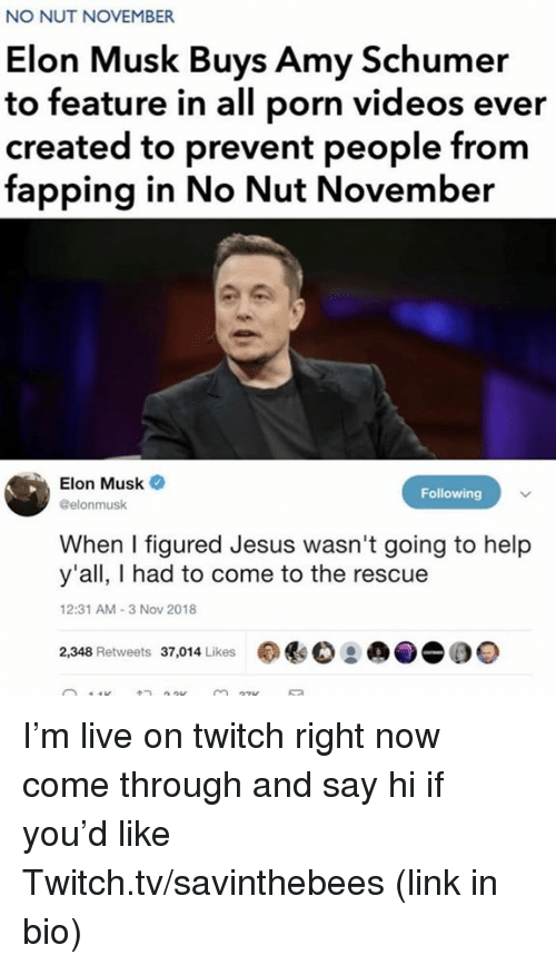 Amy Schumer, Jesus, and Twitch: NO NUT NOVEMBER  Elon Musk Buys Amy Schumer  to feature in all porn videos ever  created to prevent people from  fapping in No Nut November  Elon Musk  @elonmusk  Following  When I figured Jesus wasn't going to help  y'all, I had to come to the rescue  2:31 AM-3 Nov 2018  2,348 Retweets 37,014 Likes I'm live on twitch right now come through and say hi if you'd like  Twitch.tv/savinthebees (link in bio)