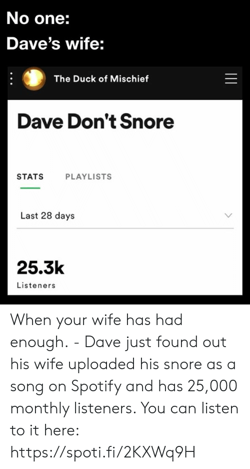 Stats: No one:  Dave's wife:  The Duck of Mischief  Dave Don't Snore  STATS  PLAYLISTS  Last 28 days  25.3k  Listeners  || When your wife has had enough. - Dave just found out his wife uploaded his snore as a song on Spotify and has 25,000 monthly listeners. You can listen to it here: https://spoti.fi/2KXWq9H