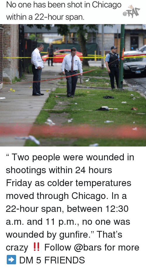 """Chicago, Crazy, and Friday: No one has been shot in Chicago s  within a 22-hour span """" Two people were wounded in shootings within 24 hours Friday as colder temperatures moved through Chicago. In a 22-hour span, between 12:30 a.m. and 11 p.m., no one was wounded by gunfire."""" That's crazy ‼️ Follow @bars for more ➡️ DM 5 FRIENDS"""