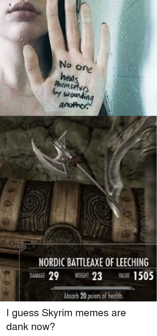 Skyrim Memes: No one  heals  hemselve  y wondinq  another  NORDIC BATTLEAXE OF LEECHING  DAMAGE 29WEIGHT 23ALUE 1505  Absorb 20 points of health <p>I guess Skyrim memes are dank now?</p>