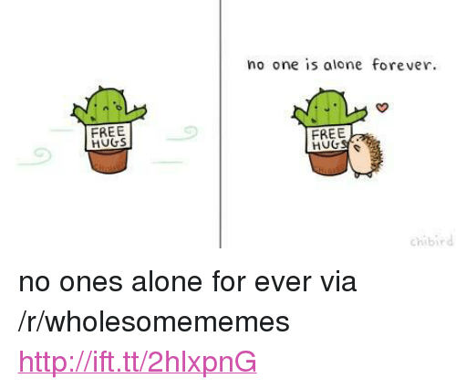 """free hugs: no one is alone forever.  FREE  HUGS  FREE  chibird <p>no ones alone for ever via /r/wholesomememes <a href=""""http://ift.tt/2hlxpnG"""">http://ift.tt/2hlxpnG</a></p>"""