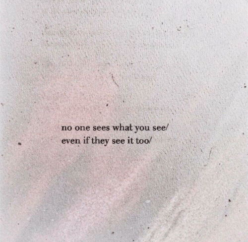 One, They, and You: no one sees what you see/  even if they see it too/