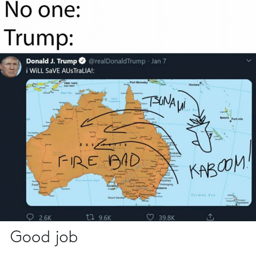 cet: No one:  Trump:  Donald J. Trump O @realDonaldTrump - Jan 7  i WİLL SaVE AUsTraLIA!:  Port Moresby  Tinar Leste  last iert  Honiara  Timor Sea Dan  An  TUNAUi  aterne  Twdw Cet  ral  Wats Port-vila  an  Cang  wen  Port Hed  Envren  Mebo  Chare  Mee  WEltAIN  Brisbar  Oold Coast  FIRE AAD  Coe  KABOOM  ken  Du  tAguta  Whyala  PNewcaste  Sydney  Wollongong  Canberra  Mildura  Grear dali ighr  Noman  Perth  Abelaloe  wwwe  Dindy  Wiknga  Hrsham+  Melboume  Tasman Sea  Atany  Geelorid  Mount Gambier  D ange  Auckland  t7 9.6K  ♡ 39.8K  2.6K Good job