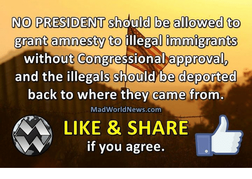 Approvation: NO PRESIDENT should be allowed to  grant amnesty to illegal immigrants  without Congressional approval  and the illegals should be deported  back to where they came from  MadWorld News.com  LIKE & SHARE  if you agree