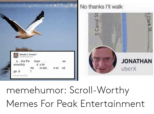 Memes, Tumblr, and Blog: No thanks I'll walk  Donald J. Trumpo  GrealDonaldTrump  JONATHAN  o , the Pe  smoothly  lican  So  d o th  cr est  !  uberx  he  a wi nd  go d  947 AM-25 Jul 2016  S Canal St  S Clark St memehumor:  Scroll-Worthy Memes For Peak Entertainment