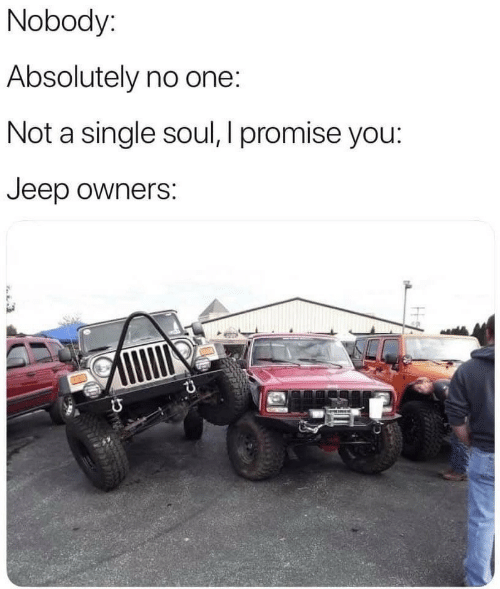 Jeep Owners: Nobody:  Absolutely no one:  Not a single soul, I promise you:  Jeep owners: