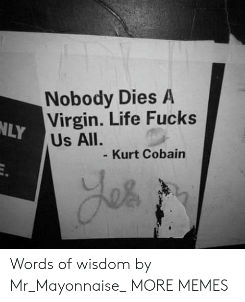 Kurt: Nobody Dies A  Virgin. Life Fucks  NLY  Us All.  Kurt Cobain Words of wisdom by Mr_Mayonnaise_ MORE MEMES
