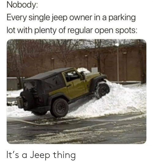 Jeep Owners: Nobody:  Every single jeep owner in a parking  lot with plenty of regular open spots: It's a Jeep thing