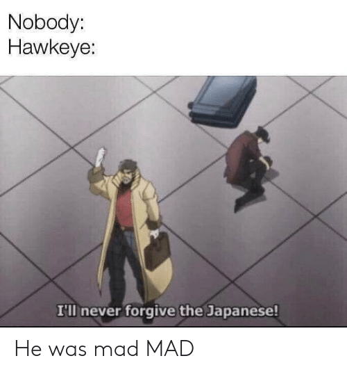 Dank Memes, Japanese, and Mad: Nobody:  Hawkeye:  I'lI never forgive the Japanese! He was mad MAD