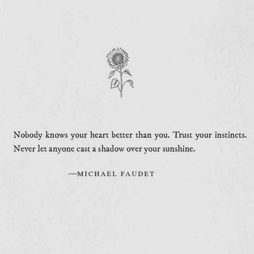 shadow: Nobody knows your heart better than you. Trust your instincts.  Never let anyone cast a shadow over your sunshine.  -M I C H A E L FAUDET