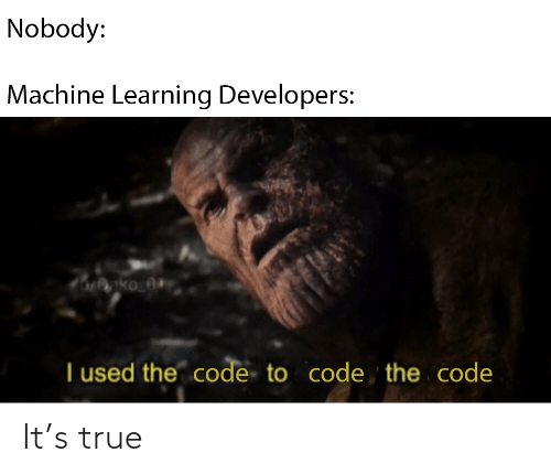 I Used: Nobody:  Machine Learning Developers:  nko_0+  I used the code to code the code It's true