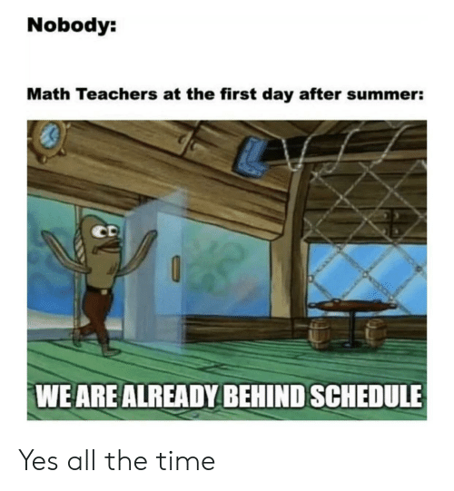 Schedule: Nobody:  Math Teachers at the first day after summer:  CD  WE ARE ALREADY BEHIND SCHEDULE Yes all the time