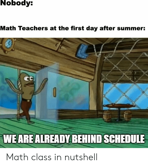 Schedule: Nobody:  Math Teachers at the first day after summer:  CD  WE ARE ALREADY BEHIND SCHEDULE Math class in nutshell