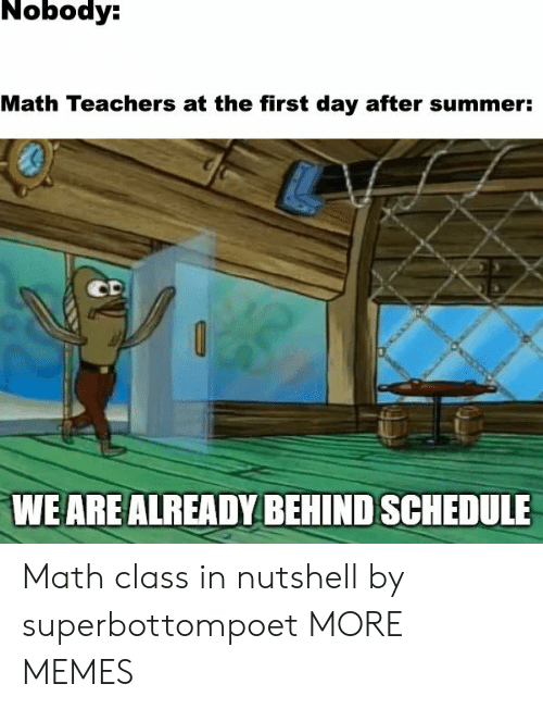 Schedule: Nobody:  Math Teachers at the first day after summer:  CD  WE ARE ALREADY BEHIND SCHEDULE Math class in nutshell by superbottompoet MORE MEMES