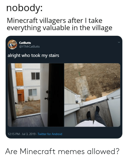 Android, Memes, and Minecraft: nobody:  Minecraft villagers after I take  everything valuable in the village  CatButts  @ΥΤMrCatButts  alright who took my stairs  12:15 PM Jul 3, 2019 Twitter for Android Are Minecraft memes allowed?