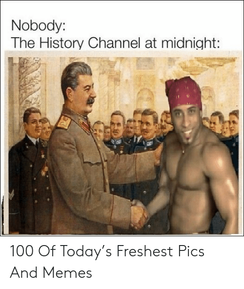 at midnight: Nobody:  The History Channel at midnight: 100 Of Today's Freshest Pics And Memes