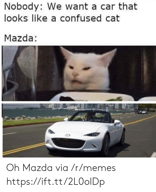Confused, Memes, and Mazda: Nobody: We want a car that  looks like a confused cat  Mazda: Oh Mazda via /r/memes https://ift.tt/2L0olDp