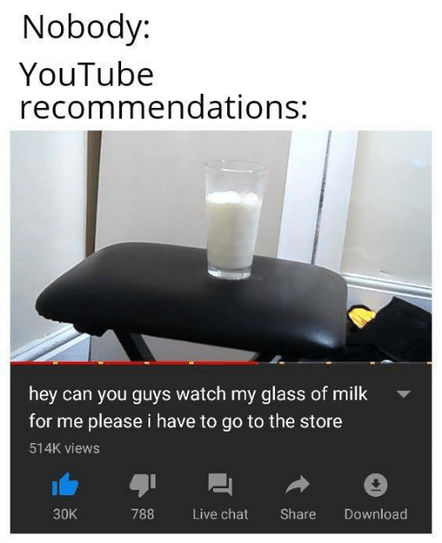 recommendations: Nobody:  YouTube  recommendations:  hey can you guys watch my glass of milk  for me please i have to go to the store  514K views  30K  788 Live chat Share Download