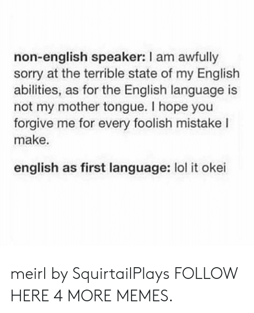 foolish: non-english speaker: I am awfully  sorry at the terrible state of my English  abilities, as for the English language is  not my mother tongue. I hope you  forgive me for every foolish mistake I  make.  english as first language: lol it okei meirl by SquirtailPlays FOLLOW HERE 4 MORE MEMES.