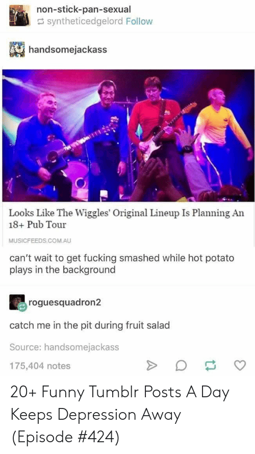 Funny, Tumblr, and Depression: non-stick-pan-sexual  syntheticedgelord Follow  handsomejackass  Looks Like The Wiggles' Original Lineup Is Planning An  18+ Pub Tour  MUSICFEEDS.COM.AU  can't wait to get fucking smashed while hot potato  plays in the background  roguesquadron2  catch me in the pit during fruit salad  Source: handsomejackass  175,404 notes  A 20+ Funny Tumblr Posts A Day Keeps Depression Away (Episode #424)