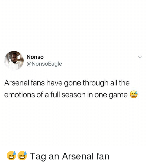 Arsenal, Memes, and Game: Nonso  @NonsoEagle  Arsenal fans have gone through all the  emotions of a full season in one game 😅😅 Tag an Arsenal fan