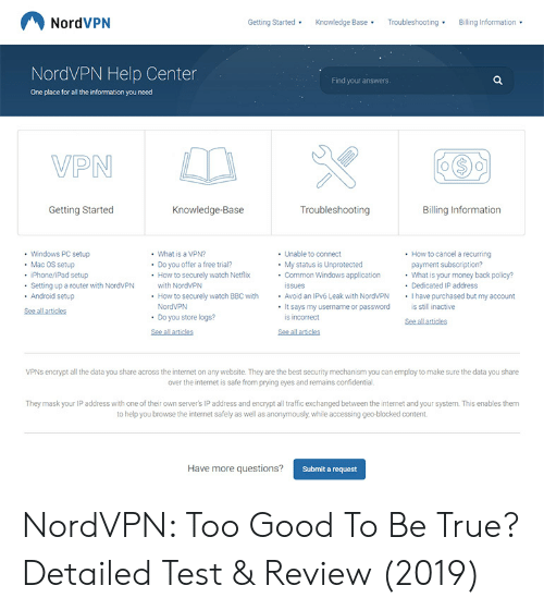NordVPN Getting Started Knowledge Base Troubleshooting