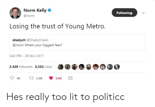 Norm Kelly: Norm Kelly  Following  @norm  Losing the trust of Young Metro.  shadych @ShadyChami  @norm Whats your biggest fear?  3:42 PM - 28 Nov 2017  3,429 Retweets 6,552 Likes  46  3.4K  6.6K Hes really too lit to politicc