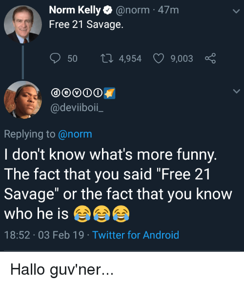 """Norm Kelly: Norm Kelly@norm 47m  Free 21 Savage.  50  4,954  9,003  @deviiboi  Replying to@norm  I don't know what's more funny.  The fact that you said """"Free 21  Savage"""" or the fact that you know  who he is  18:52 03 Feb 19 Twitter for Android"""