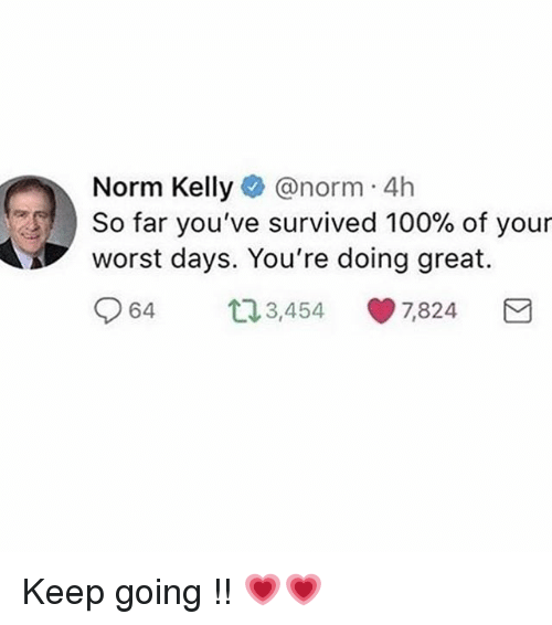 Norm Kelly: Norm Kelly@norm 4h  worst days. You're doing great.  064 3,454-7,824  est ) So far you've survived 100% of your Keep going !! 💗💗