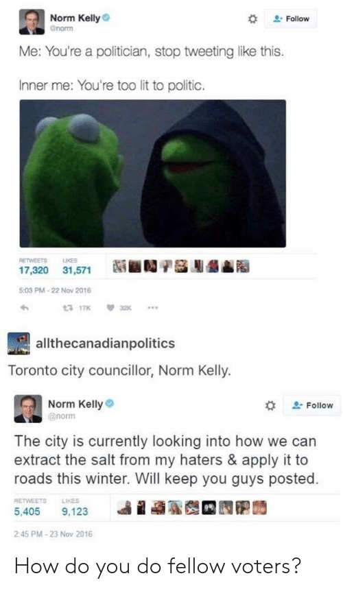 Norm Kelly: Norm Kelly  norm  Follow  Me: You're a politician, stop tweetinglike this.  Inner me: You're too lit to politic.  RETWEETS  LIKES  17,320 31,571  5:03 PM-22 Nov 2016  t 17K  a2K  allthecanadianpolitics  ronto city councillor, Norm Kelly.  Norm Kelly  Follow  @norm  The city is currently looking into how we can  extract the salt from my haters & apply it to  roads this winter. Will keep you guys posted.  RETWEETS  LIKES  5,405  9,123  2:45 PM-23 Nov 2016 How do you do fellow voters?