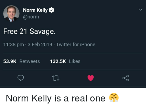 Norm Kelly: Norm Kelly  @norm  Free 21 Savage.  11:38 pm 3 Feb 2019 Twitter for iPhone  53.9K Retweets132.5K Likes